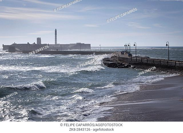Cadiz Spain- April 1: Castle of San Sebastian, fortress on a smail island separated from the main city, according classical tradition