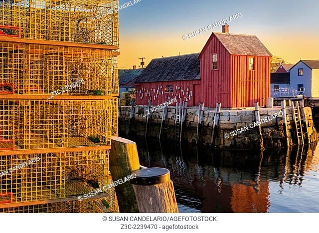 New England's iconic landmark of Bradley Wharf commonly known as Motif Number One during first light in Rockport, Massachusetts