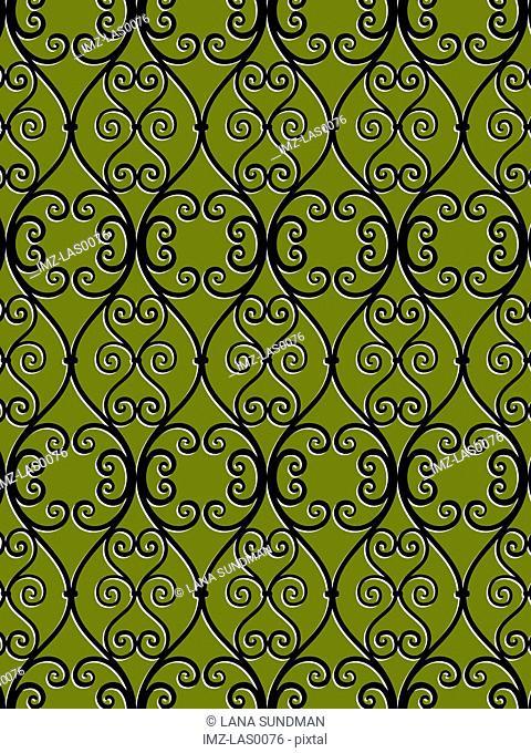 Swirl pattern on green background