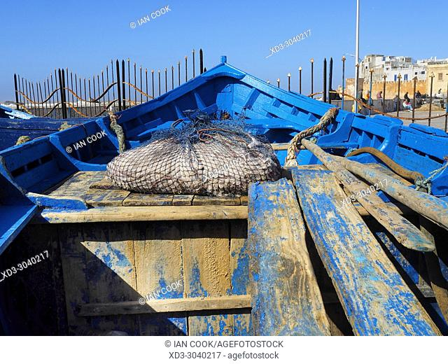 blue fishing boat, Fishing Port, Essaouira, Morocco