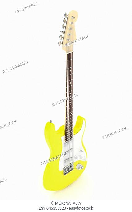 Isolated yellow electric guitar on white background. Musical instrument for rock, blues, metal songs. 3D rendering