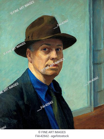 Self-portrait by Hopper, Edward (1882-1967)/Oil on canvas/American scene painting/1925-1930/The United States/Whitney Museum of American Art