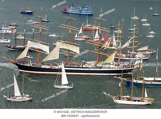 Winderjammer Parade at Kieler Woche 2008 with Russian sail training four-masted barque Sedov, Sedow, Kiel Fjord, Schleswig-Holstein, Germany, Europe