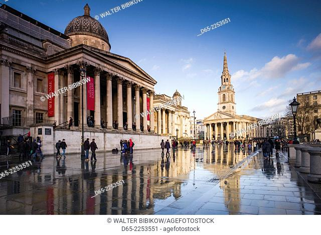 England, London, Trafalgar Square and National Gallery, late afternoon