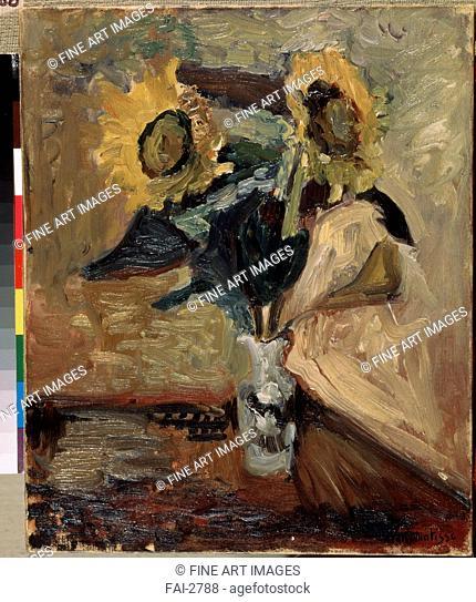 Vase with Sunflowers. Matisse, Henri (1869-1954). Oil on canvas. Postimpressionism. c. 1898. State Hermitage, St. Petersburg. 46x38. Painting