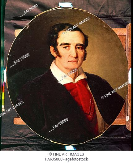 Portrait of the painterr Giuseppe Angiolo Artari (1792-1863) by Tropinin, Vasili Andreyevich (1776-1857)/Oil on canvas/Romanticism/1830s/Russia/Regional Art...