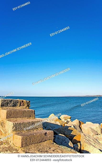 Baltic Sea view of the mole of Ustka, Poland