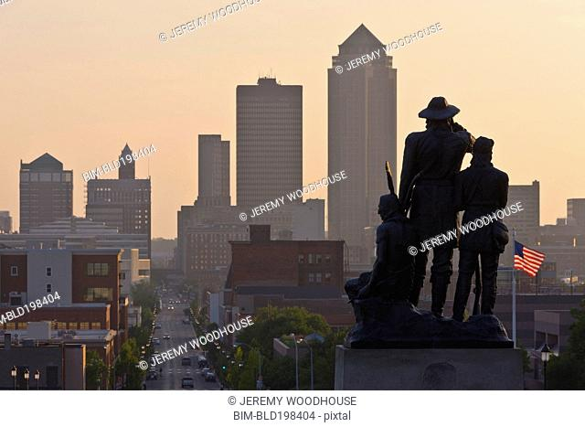 Urban cityscape at sunset