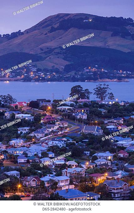 New Zealand, South Island, Otago, Port Chalmers, elevated town view, dawn