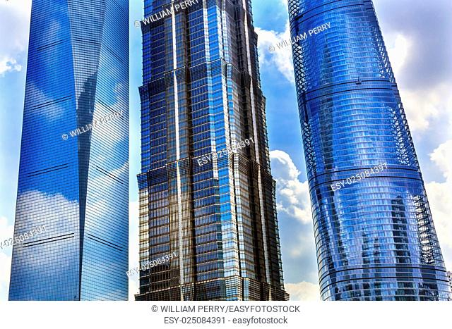 Three Skyscrapers Reflections Make Patterns and Designs Liujiashui Financial District Shanghai China. Shanghai Tower, Shanghai World Financial Center and Jin...