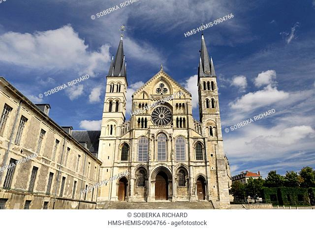 France, Marne, Reims, St Remi Basilica listed as World Heritage by UNESCO, forecourt and facade