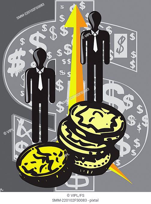 Human figures standing on coins with arrow and dollar symbols
