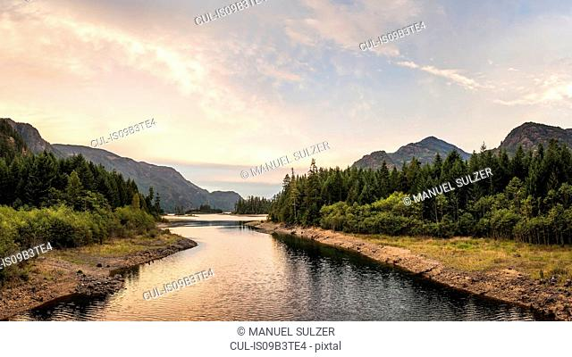 Forest, lake and mountain landscape at dusk, Strathcona-Westmin Provincial Park, Vancouver Island, British Columbia, Canada