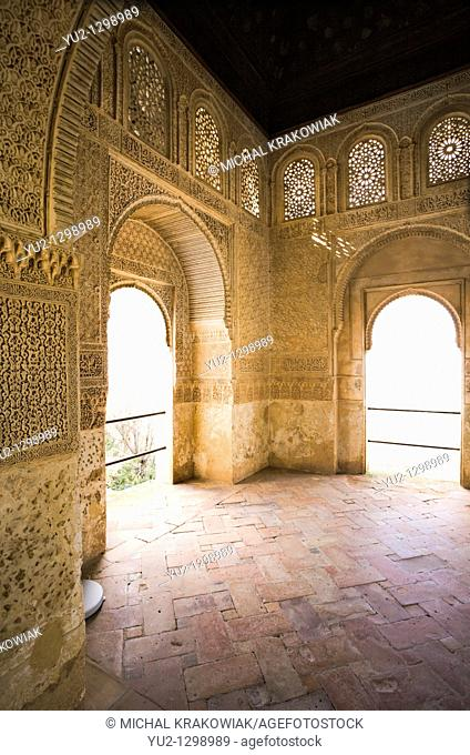 Balcony of palace in Generalife, Alhambra Granada, Spain