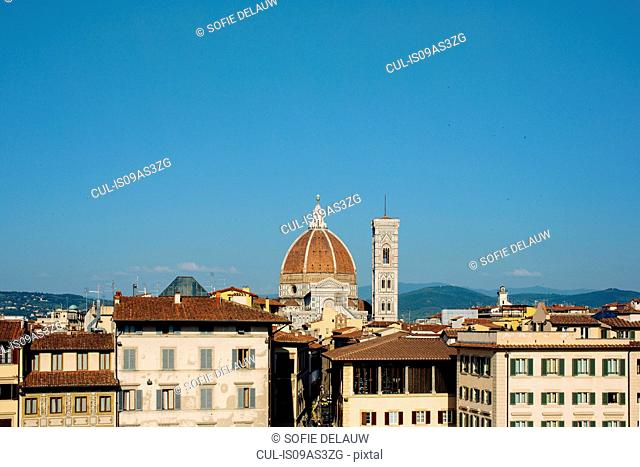 View over rooftops of Florence Cathedral, Florence, Tuscany, Italy