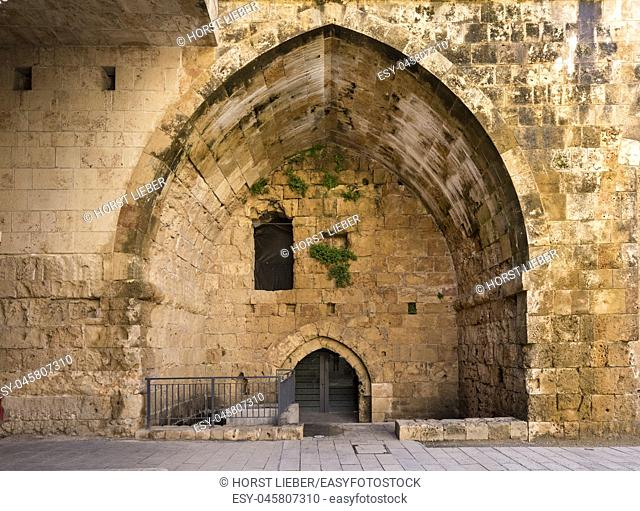 The central courtyard in the Hospitallerian citadel, fortress of the Crusaders in Akko, Northern District, Israel, Middle East