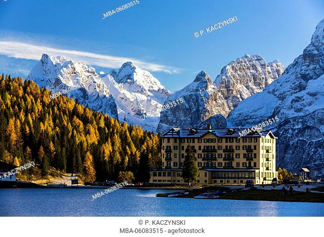 Grand Hotel Misurina by the Lake Misurina in front of snow covered part of Marmarole Group, UNESCO World Heritage Site, Dolomites, Veneto, Belluno Province