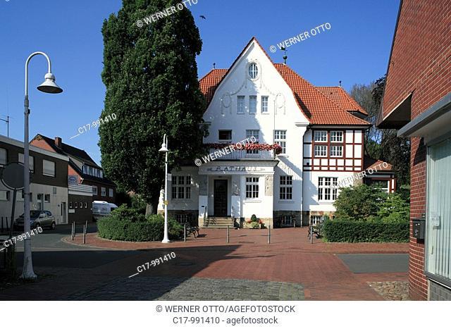 Germany, Essen Oldenburg, Hase, Hase Valley, Oldenburger Muensterland, Lower Saxony, town hall, Villa August Meyer, art nouveau, half-timbered