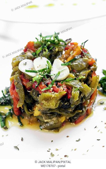 portuguese roast organic bell peppers and garlic mediterranean tapas salad in lisbon restaurant