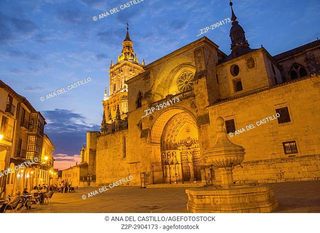 Cathedral by dusk in Burgo de Osma village Soria province Castile Leon Spain on June 11, 2017
