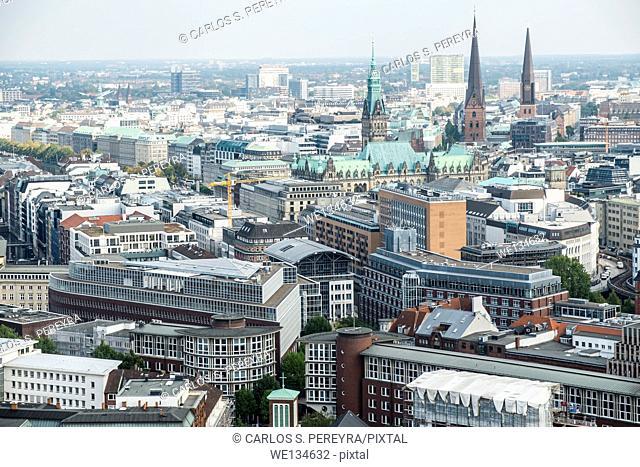 Aerial view of Hamburg city center, Germany