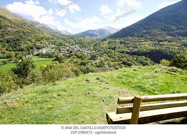 Erill-la-Vall lookout panorama in the Boi Valley, Lleida province, Catalonia, Spain