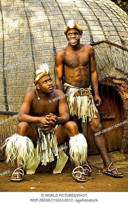 People Zulu Men In Traditional Dress Lesedi Cultural Village Near Johannesburg South Africa Date 08