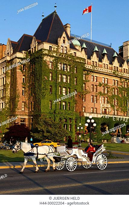 Hotel Empress, carriage, Victoria, Vancouver Island , Canada, North America