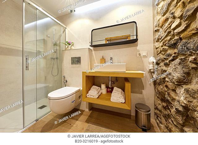 Bathroom, Urain Apartments, Basque farmhouse, Deba, Gipuzkoa, Basque Country, Spain, Europe
