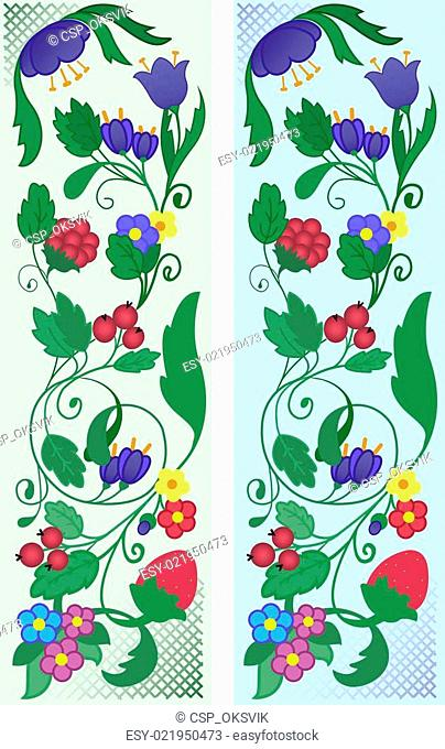 A set of abstract floral ornaments