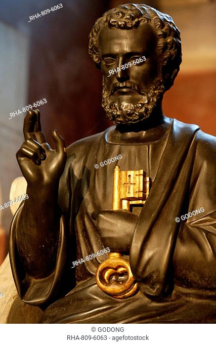Statue of St. Peter, Notre Dame de Brebieres basilica, Albert, Somme, France, Europe
