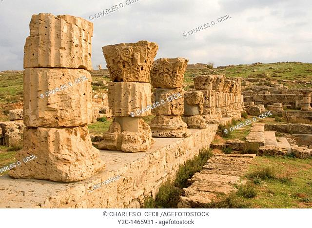Apollonia, Susa, Libya -- Roman Baths, capitols date from 138 A D