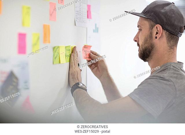 Casual man putting a sticky note on board