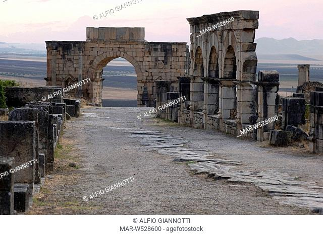 decumanus maximo and the arch of Caracalla, Walili, Volubilis, Roman archaeological site, Middle Atlas, Morocco, Africa