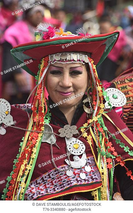 Costumed dancer at the colorful Gran Poder Festival, La Paz, Bolivia