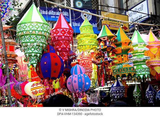 Indian Deepawali diwali festival ; sale of lanterns ; Mumbai Bombay ; Maharashtra ; India