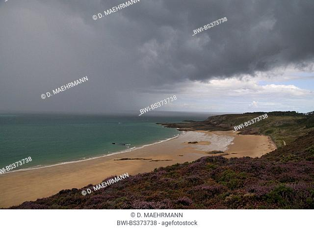 rain shower at the coast, France, Brittany, Erquy