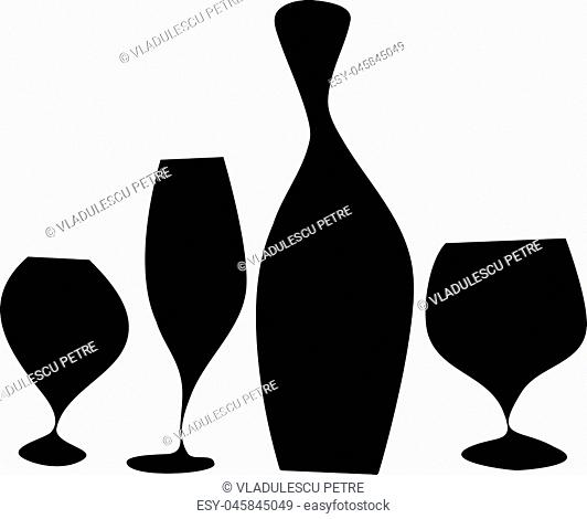 bottle and glasses with black wine