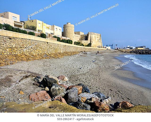 Castle in Roquetas de Mar. Almeria. Andalucia. Spain. Europe