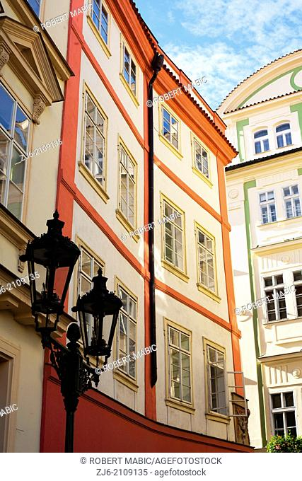 Colorful houses. Street of Prague. Czech Republic