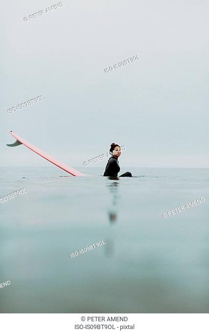 Young female surfer sitting on surfboard in calm misty sea, portrait, Ventura, California, USA