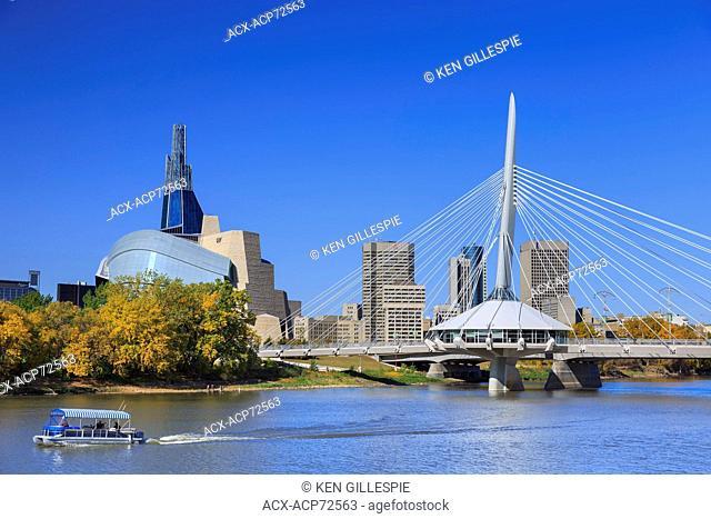 Winnipeg skyline with Canadian Museum for Human Rights and Esplanade Riel Bridge, Winnipeg, Manitoba, Canada