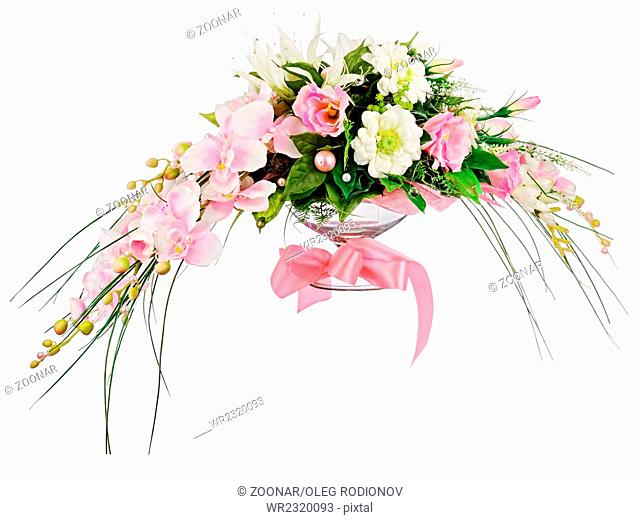 Floral bouquet of roses and orchids arrangement ce