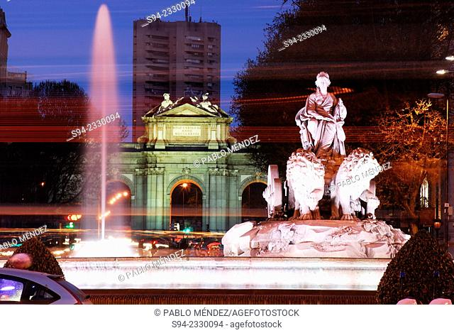 Cibeles sculpture and Puerta de Alcala in Madrid, Spain