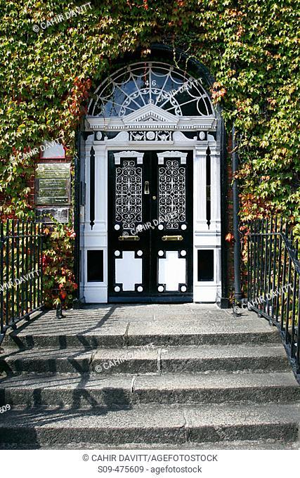 Elaborate Georgian black and white door in Fitzwilliam square. Dublin 2, Co. Dublin. Ireland