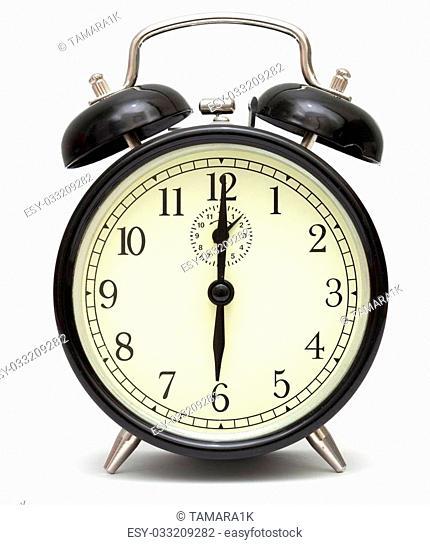 old fashioned alarm clock, black, isolated on white