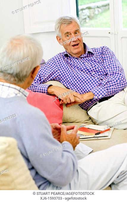 Senior men, chatting