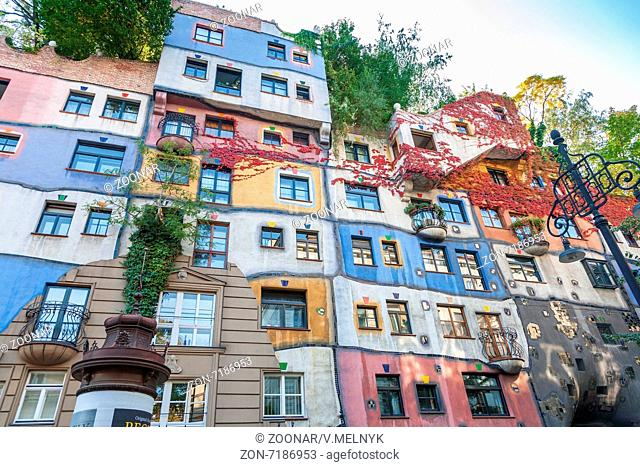 VIENNA, AUSTRIA - SEPTEMBER 30, 2008 Colorful facade of the famous Hundertwasserhaus in Vienna, Austria