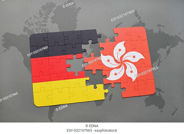 puzzle with the national flag of germany and hong kongon a world map background. 3D illustration