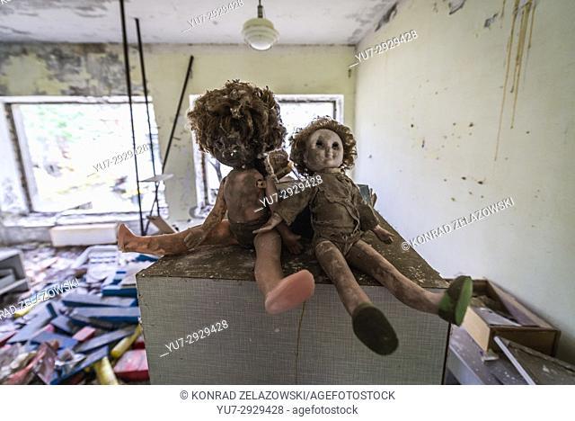"Toys in """"Cheburashka"""" kindergarten No 10 in Pripyat ghost city, Chernobyl Nuclear Power Plant Zone of Alienation in Ukraine"